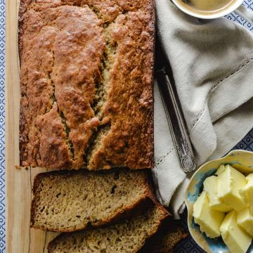 Banana loaf with butter and coffee