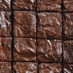 Close up of cut chewy cocoa brownies
