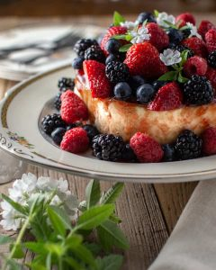 Summer berry cheesecake on antique platter