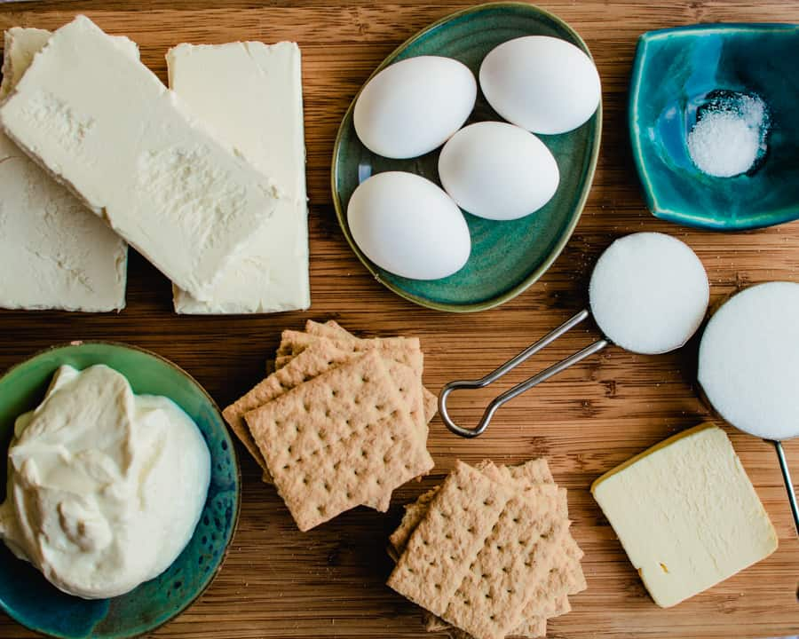 All the ingredients to make cheesecake.