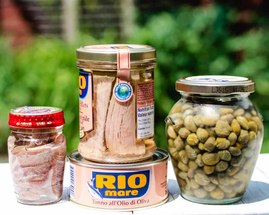 Jar of anchovies, tuna and capers for Nicoise Salad