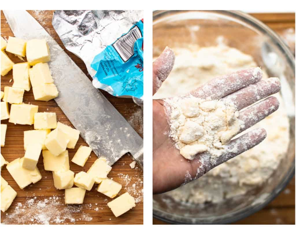 2 photos showing a knife and cubed butter and the other showing butter pieces after breaking them up in palm of hand