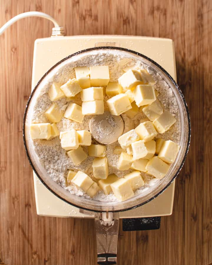 Food processor with butter and dry ingredients