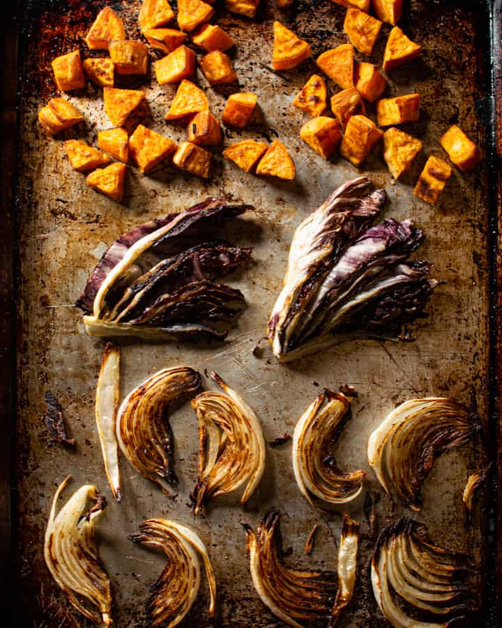 roasted vegetables on tray