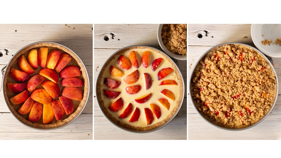 triptych showing assembly of peach and almond tart. peaches in shell, then custard, then with topping