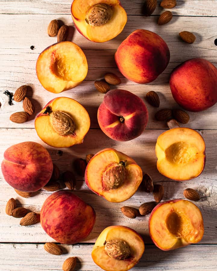 peaches and almonds for peach and almond tart