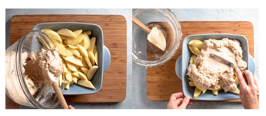 action shots showing pouring batter over apples and spreading it out
