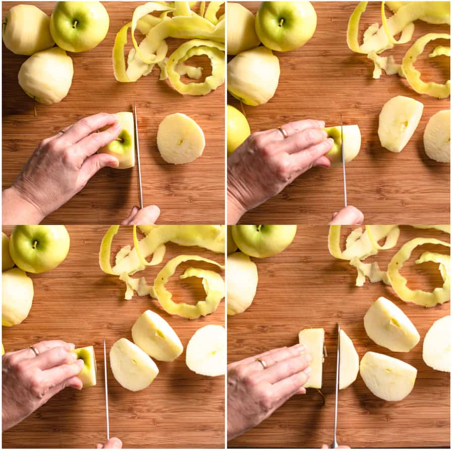 series of 4 photos showing how to core an apple