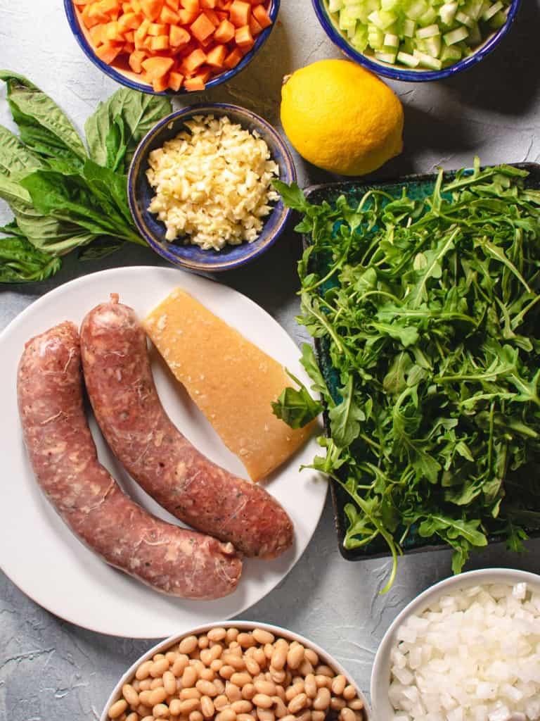 sausage arugula garlic onions basil lemon for making soup