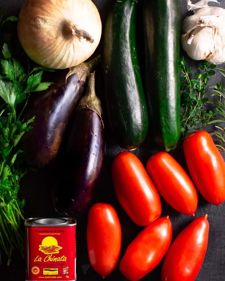 Vegetables for Spanish Chicken Bake before prepping
