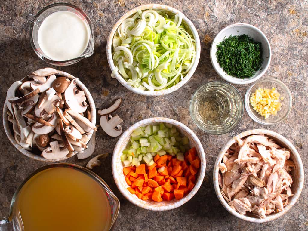 prepared ingredients for creamy chicken and mushroom soup