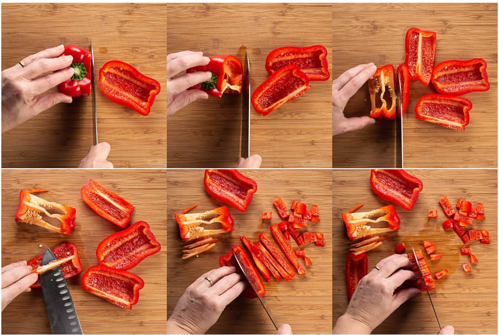 6 steps to coring and chopping a bell pepper