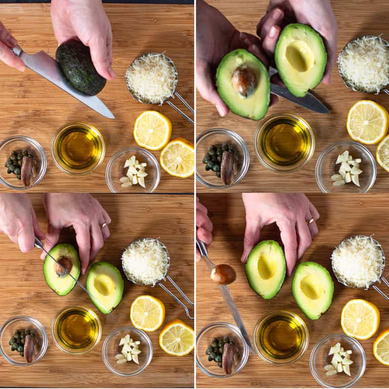 four photos showing how to open and pit an avocado