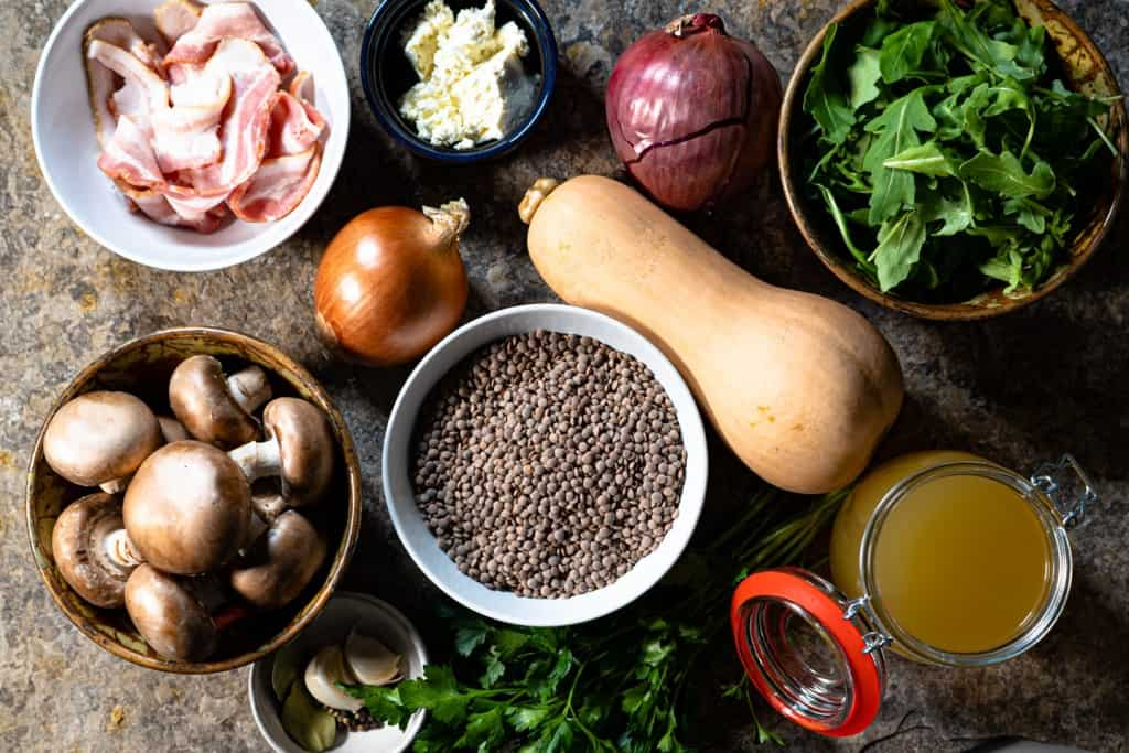 ingredients for warm lentil salad before preparing.