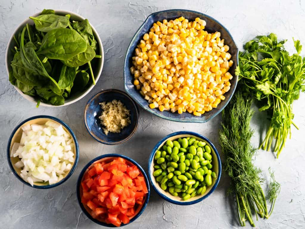 all ingredients prepared for making summer succotash