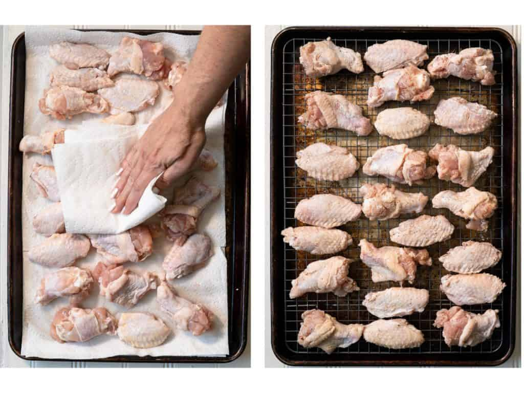 side by side photos showing drying wings with paper towel and them on a wire rack on a tray