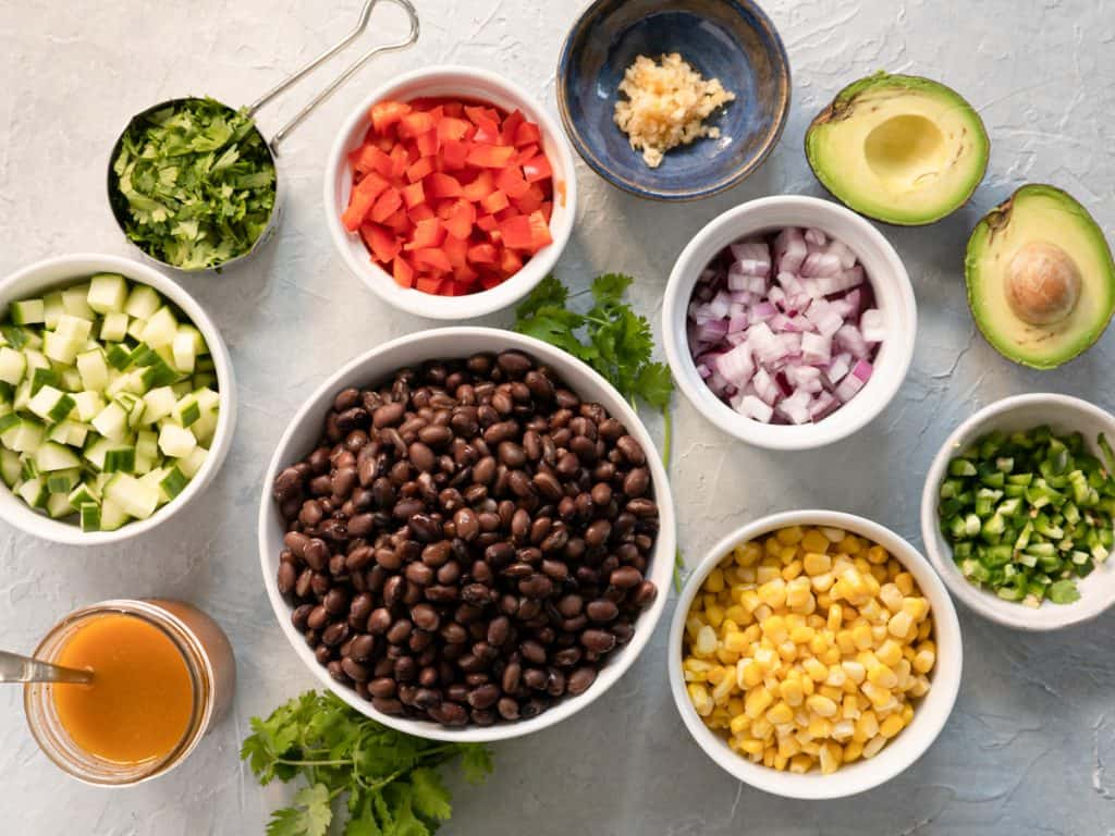 Prepared ingredients for Tex-Mex black bean salad