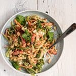 thai style slaw on individual plate with fork on white background