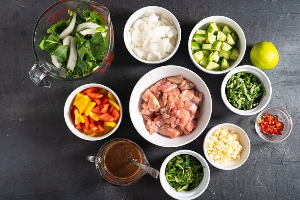 Ingredients for thai style chicken stir fry